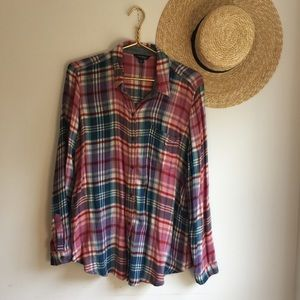 Lucky Brand flannel oversized button down top